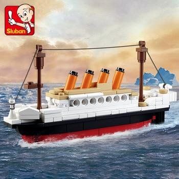 194Pcs Titanic RMS Ship Boat Model Building Blocks Sets Friends DIY Kids Creator Bricks City DIY Educational Toys for Children assembled ship 14214 color separation model titanic model ship