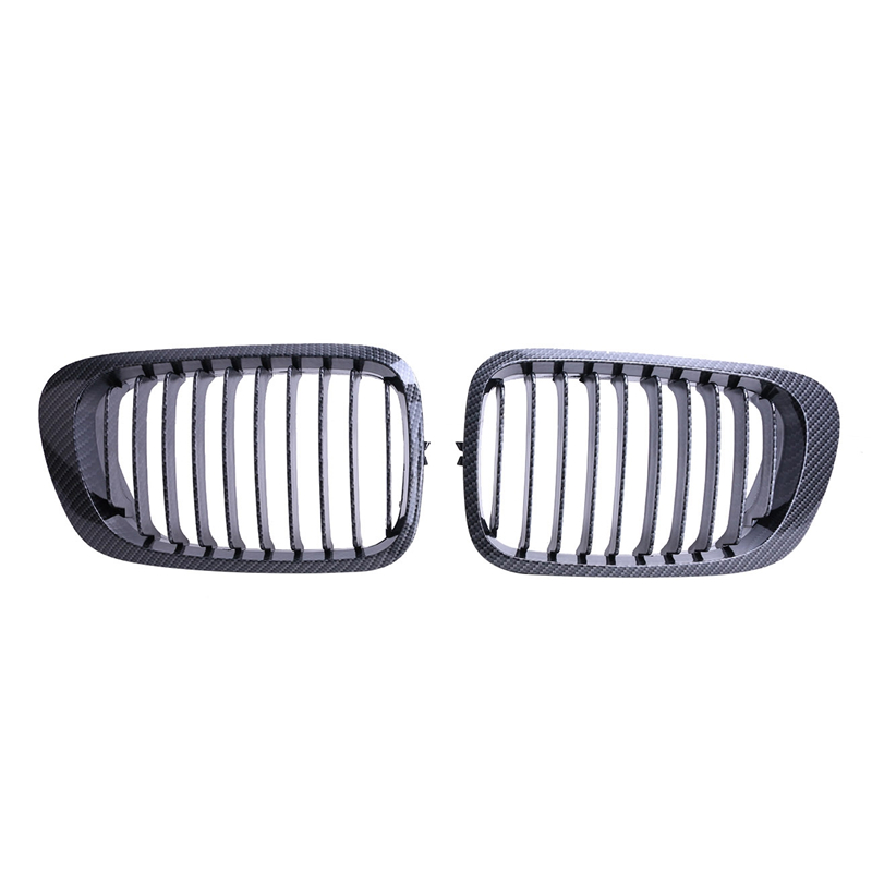 ФОТО 2PCS Carbon Fiber Black Front Kidney Grille Grills For BMW E46 3 Series 2Door 1999-2006 //