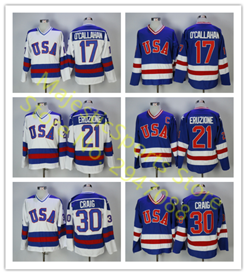 Ice Hockey Jerseys 1980 Miracle On Ice Team USA Jack O Callahan  17 Mike  Eruzione  21 Jim Craig  30 Hockey Jersey White Blue 9aabdea34