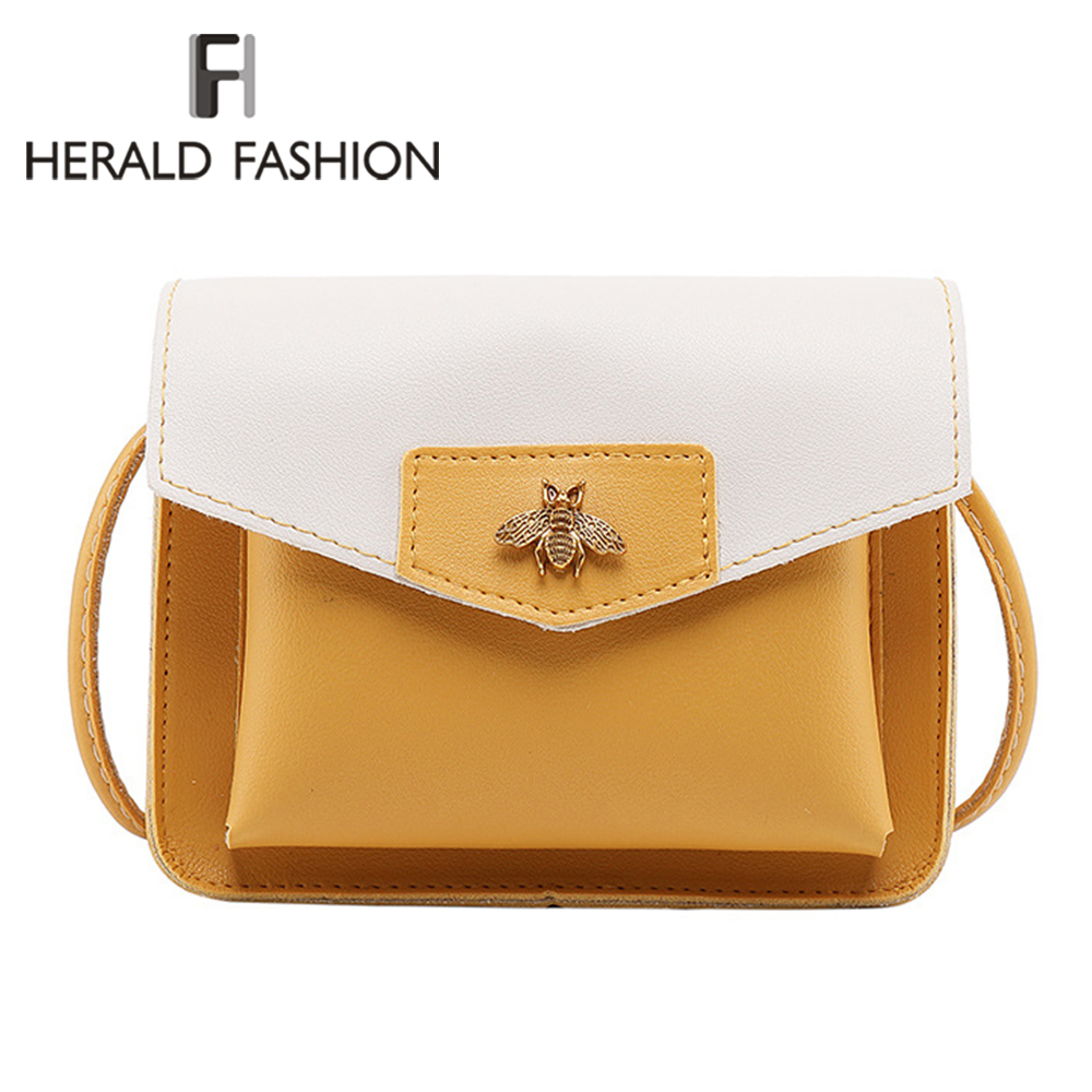 Herald Fashion Patchwork Women Messenger Bag Quality Leather Panelled Female Shoulder Bag Casual Flap Bag Ladies' Crossbody Bag