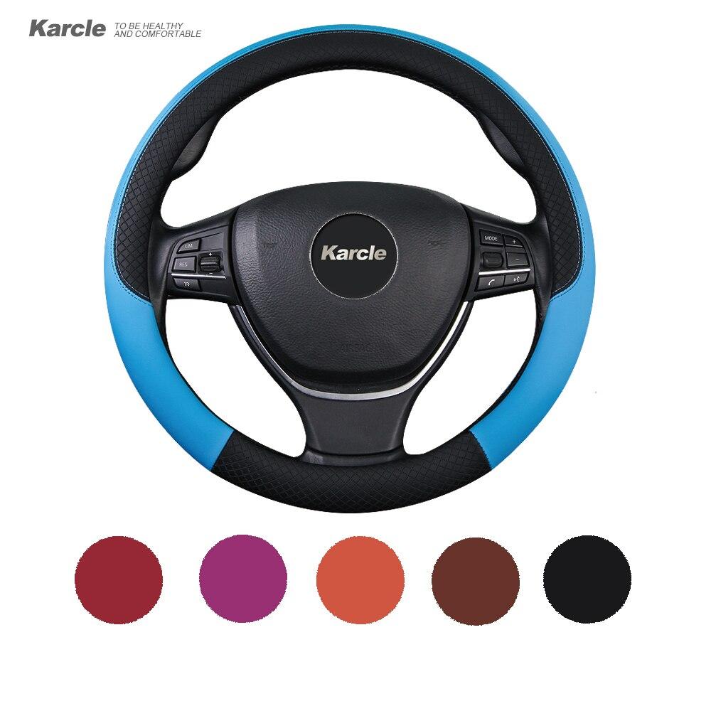 Karcle 38 cm volante Tapas contraste color skin feel pu volante de cuero coche de estilo automóviles accesorios