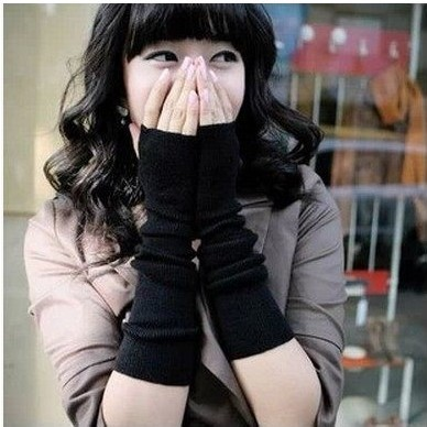 Hot sale women new winterWool gloves to keep warm gloves knitting false sleeve arm guard for girl