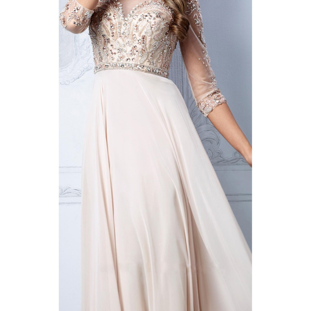 robe de soiree Real Photos Tulle Chiffon Fabric Three Sleeve Beading Hand work Formal Evening Gowns mother of the bride dresses in Mother of the Bride Dresses from Weddings Events