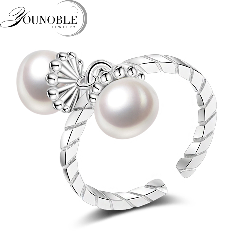 YouNoble bohemia 2017 New Double Pearl Ring trendy natural Pearl Adjustable charms Rings for women pearl Jewelry Vintage White