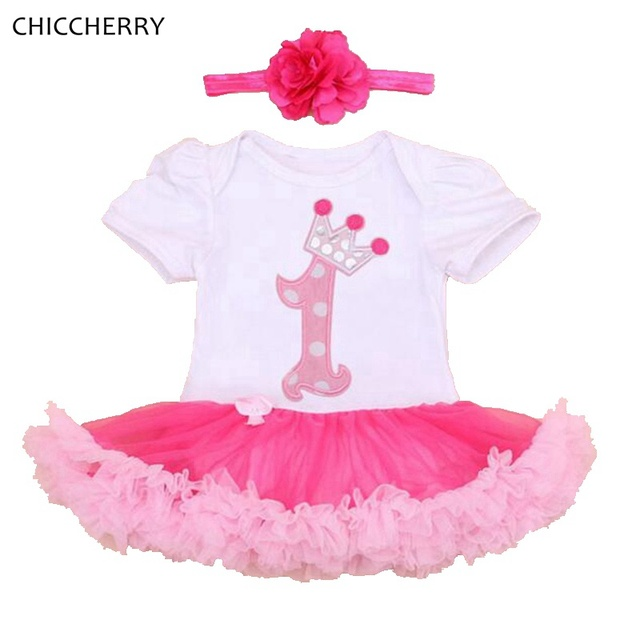 da410a32ab2 Happy Birthday Crown Princess 1 Year Baby Girl Dress Headband Set Infant  Lace Tutus Roupa De