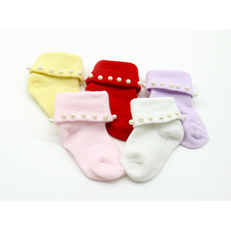 Lovely Newborn Baby Pearl Flower Ruffle Lace Princess Socks Infant Warm Pure Cotton Colorful Socks New Arrival 2017