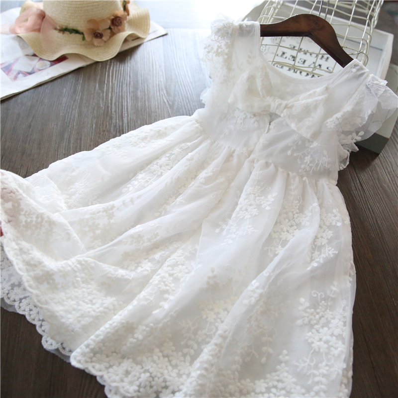 Girls Dress Ball-Gown Flower Embroidery Lace White Baby Kids Princess Children Summer