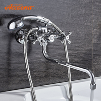 Accoona Shower Faucets Classic Bathtub Faucet Chrome Plated Single Holder Long Nose Brass Bathroom Faucet Bath Mixer Tap A7176