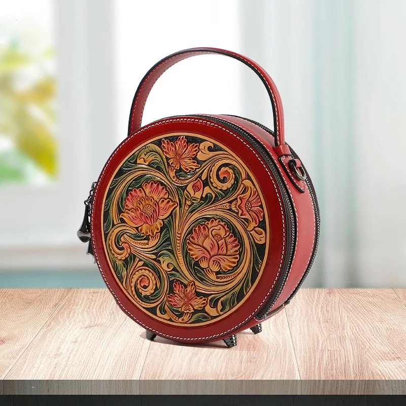 China Style Hand Engraved Lady Small Circular Handbag Genuine Cow Leather Carved Female Flower Shoulder Bag Women Crossbody Bag-in Shoulder Bags from Luggage & Bags    3