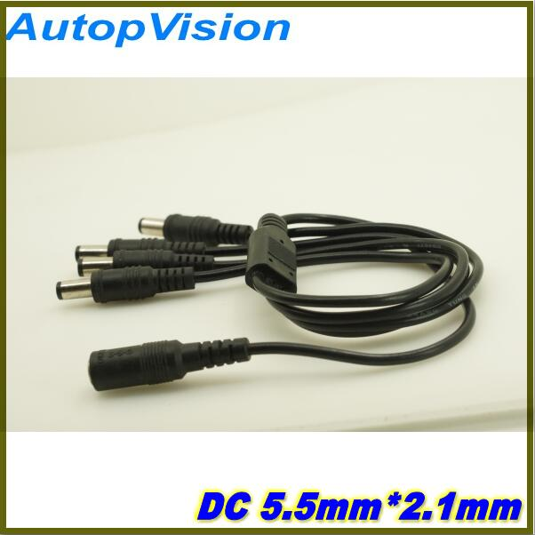 Wholesale 10pcs/lot DC Power Splitter 4 Way Power Splitter Cable 1 Male To 2 Dual Female Cord For CCTV Camera 5.5mm / 2.1mm