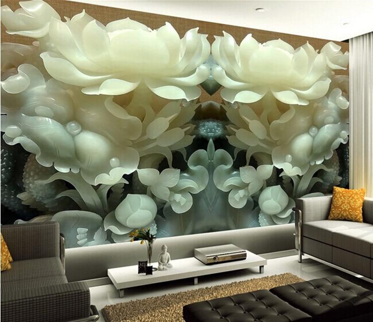 Wholesale Modern Jade Carving Mural 3d Wall Murals Tv Background