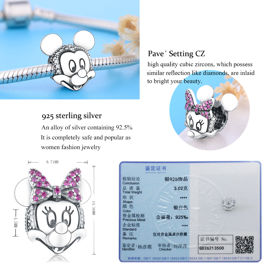 925 Sterling Silver Two tone Minnie Mickey Portrait Clip Charm Fit Original Pandora Charm Bracelet Beads 2019 Winter DIY Jewelry in Beads from Jewelry Accessories