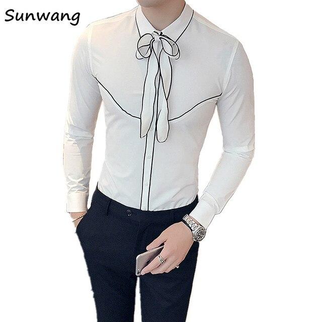 Slim Fit Wit Overhemd.2019 Herfst Koreaanse Tie Decoratie Designer Smoking Wit Overhemd