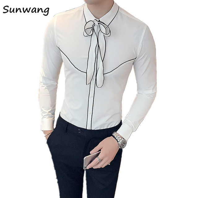 Manga Fit Decoración Blanco Blusas Camisas Esmoquin Slim Coreano Camisa De Otoño Corbata 2019 Diseñador Larga uXTkOPZi