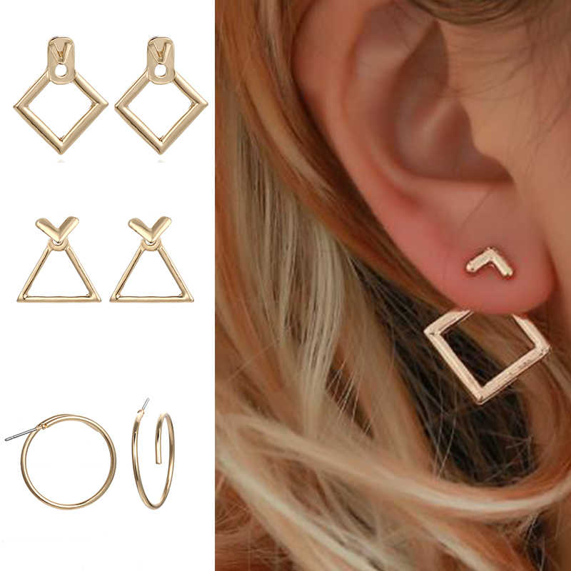 TMXK angele Fashion Metal Earrings 2019 New Triangle Golden Geometric Earrings Elements Fine Pendant Earrings Earrings Gift