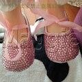 Envío gratis princesa rosa rhinestone cristal baby girl zapatos hechos a mano de la perla del niño del bebé bling zapatos de los niños encantadores moda zapatos