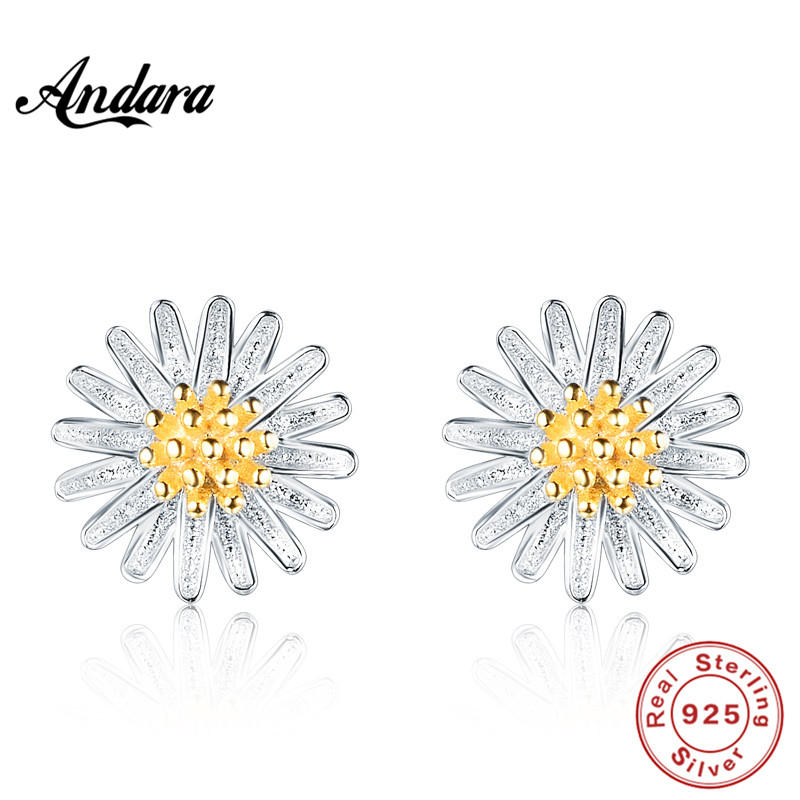 <font><b>ANDARA</b></font> Authentic 100% 925 Sterling Silver Chrysanthemum Flower Stud Earrings Fashion Jewelry image