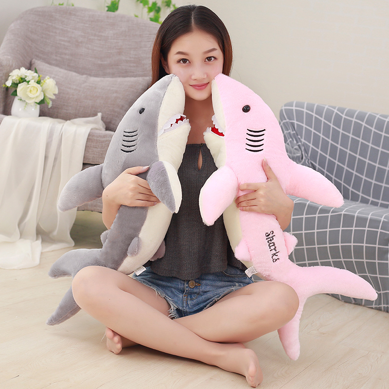 Azoo 50cm New super soft cute BIG horror shark plush toy 3D shark pillow doll girl