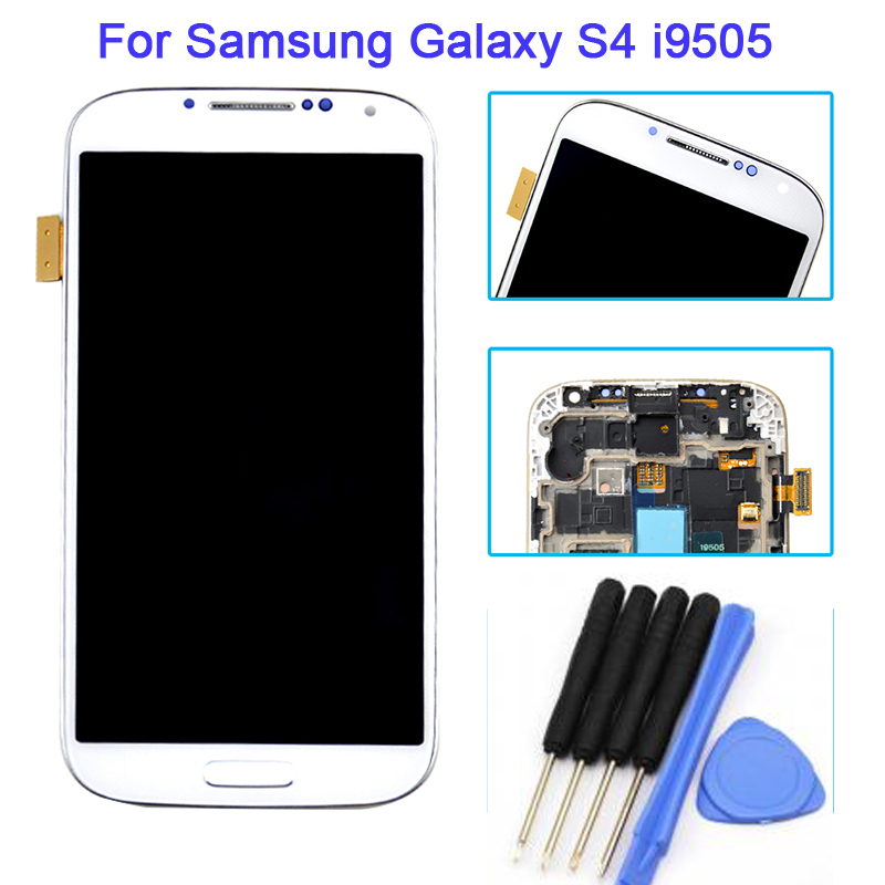White For Samsung Galaxy S4 i9505 LCD Display Touch Screen With Digitizer Assembly + Frame + Tools, Free shipping + Track No