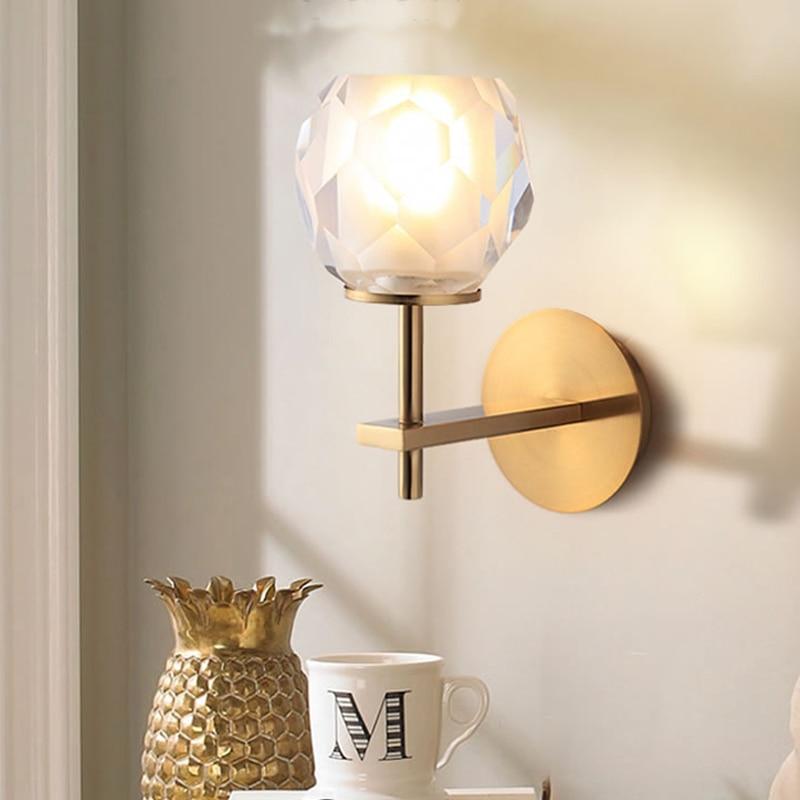 цена на Modern Crystal led Wall Lamp Bedside Living Room Copper Lamp Crystal Sconce Bathroom Mirror Light Bedroom Light led Wall lights