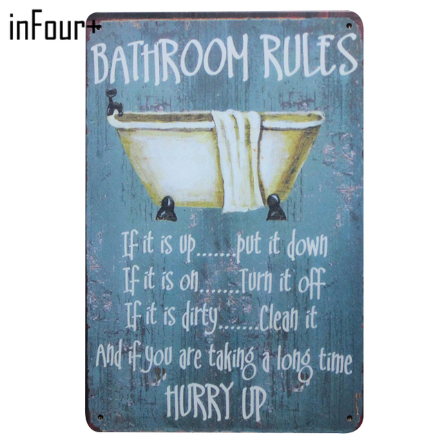 [inFour+]Home Bathroom Rule Metal Signs Home Decor Vintage Tin Signs Pub  Vintage Decorative Plates Metal Wall Art Plaques