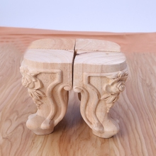 Wooden Furniture Legs Solid Wood Flower Carved TV Cabinet Seat Feet No Painting
