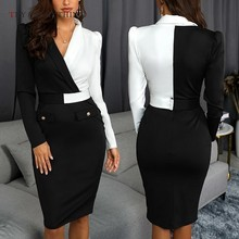 Elegant Office Dress Women Summer 2019 Long Sleeve White And Black Patchwoek Ladies Pencil Midi Dresses For