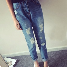 2016 summer new Korean fashion loose hole casual jeans harem nine points beggar pants pants Plus Size Women jeans T20(1)