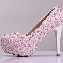 New Arrival Pink Lace Flower High-heeled Shoes Elegant Bridal Dress Shoes Lady Spring High Heels Bridesmaid Shoes