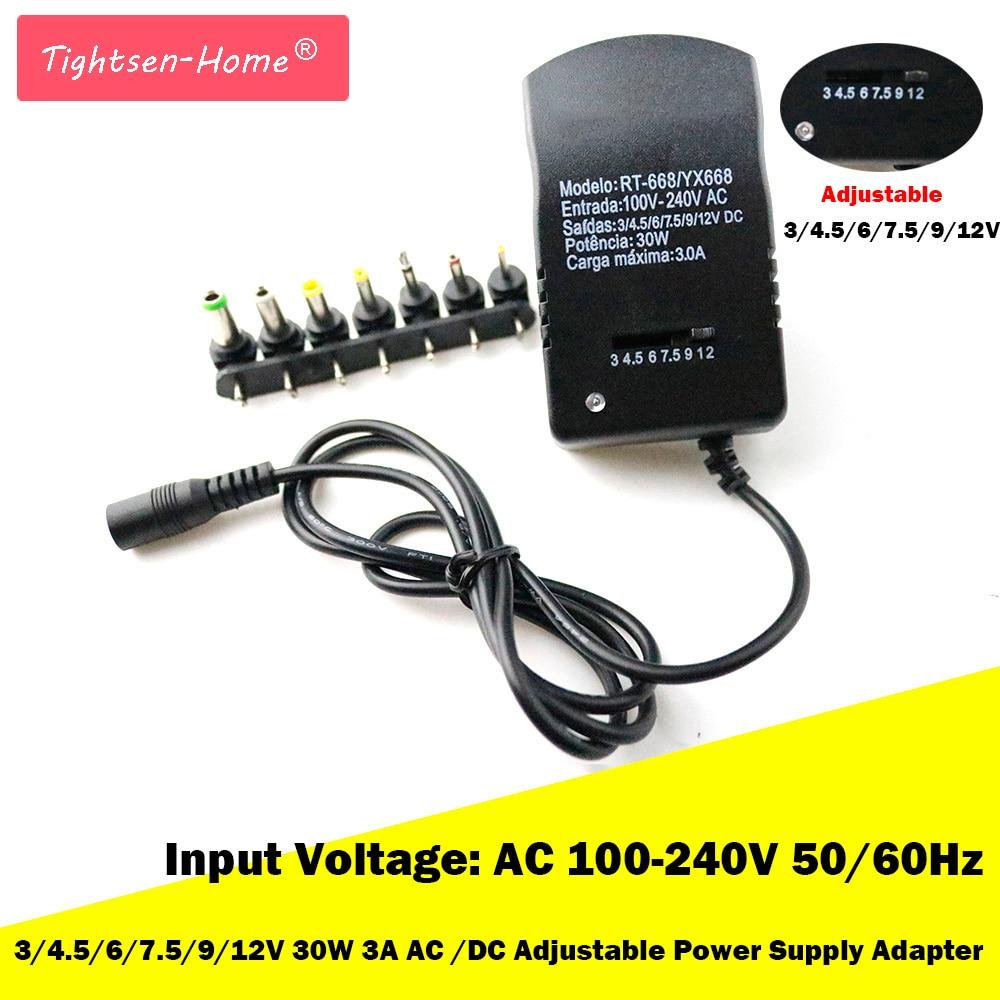 New 12V 3V 4.5V 6V 7.5V 9V 3A AC DC Adaptor Adjustable Power Adapter Universal Charger Supply For Led Light Strip Lamp 30W EU/US