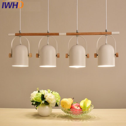 IWHD 4 Heads Hanglamp Restaurant Led Pendant Light Fixtures Fashion kitchen Hanging Lamp Home Lighting Fixtures Hang Lights iwhd 3 heads iron hang lights led pendant light fixtures fashion wood modern pendant lamp kitchen bedroom e27 220v for decor