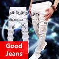 Masculinos pantalones blancos de otoño estampado de flores de algodón noticias pantalones vaqueros elásticos delgados Pantalones Negro pantalones masculinos para cantante estrella discoteca espectáculo