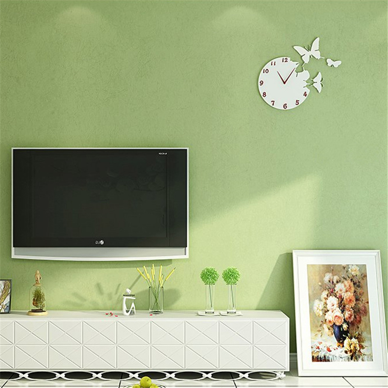 beibehang papel de parede Non-woven wallpaper plain solid color fresh green bedroom cozy living room TV backdrop wallpaper
