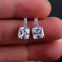 Fashion Top CZ Cubic Zircon Crystal Stud Earrings Square Brand New Womens Copper Alloy Luxury Party Jewelry Girl Free Shipping