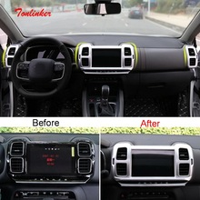 Tonlinker Interior Center Console Outlet Cover Sticker for CITROEN C5 Aircross 2018-19 Car Styling 1/2 PCS ABS Covers stickers fit for citroen c5 aircross interior steering wheel moulding sequins abs chrome decoration cover 2pcs
