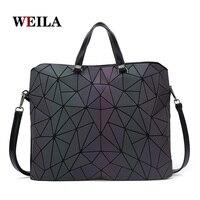 New Women Handbag Geometric Laser Handbag Women Bag Luminous Tote Female Fashion Briefcase Holographic Shoulder Bag Bucket Bag