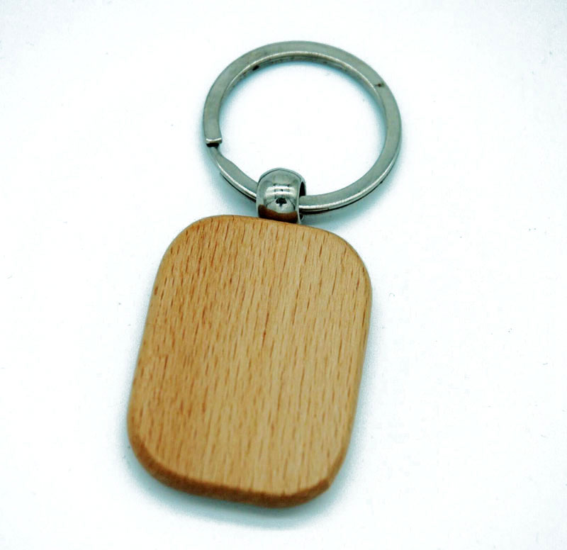 60pcs Blank Round Rectangle Wooden Key Chain DIY Promotion Customized Key Tags Promotional Gifts