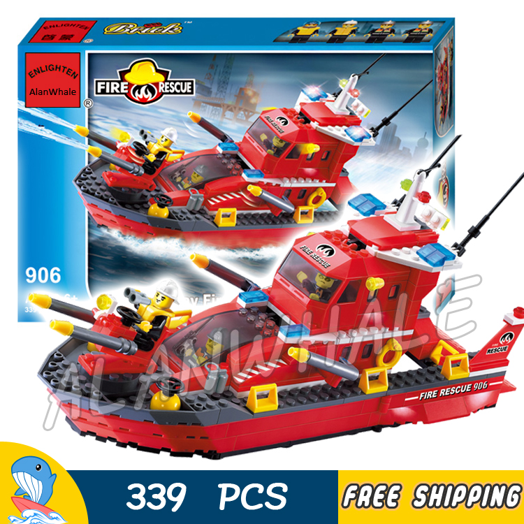 339pcs City Fire Boat Rescue Ships Station 3D 906 Model Building Blocks Kit Children Fireboats Starter Toys Compatible with lego 605pcs city scaling ladder fire engines rescue truck 3d firefighter 908 model building blocks children toys compatible with lego