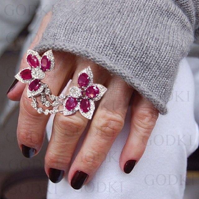 GODKI Luxury Flower Leaf Cubic Zironia Engagement Dubai Nigerian Bridal Double F