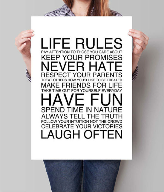 Life Rules Poster Family Art Print Office Decor Inspirational Hallway Gift For Boss Housewarming Newborn Baby