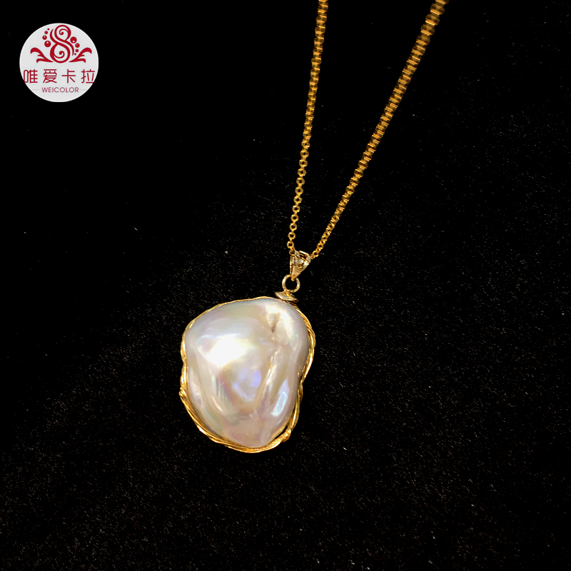 WEICOLOR Popular Hand Made Gold Mixed Material Irregular White Cultured Freshwater Pearl Pendant With Nice Free Chain.WEICOLOR Popular Hand Made Gold Mixed Material Irregular White Cultured Freshwater Pearl Pendant With Nice Free Chain.