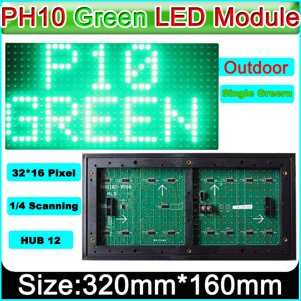 P10 Green color outdoor LED display module, P10 led signs green Panel, electronic moving text image