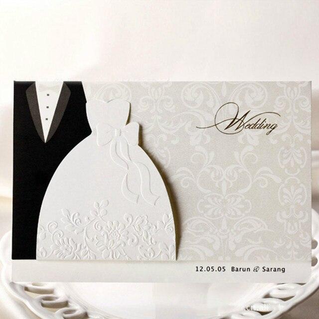 Neue Klassische Braut Und Bräutigam Hochzeit Einladungskarten Schwarz Und  Weiß Westlichen Stil Hochzeitseinladungen