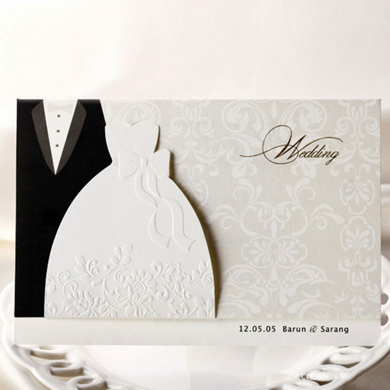 New Classic Bride and Groom Wedding Invitation Cards Black and White Western Style Wedding Invitations 1 design laser cut white elegant pattern west cowboy style vintage wedding invitations card kit blank paper printing invitation