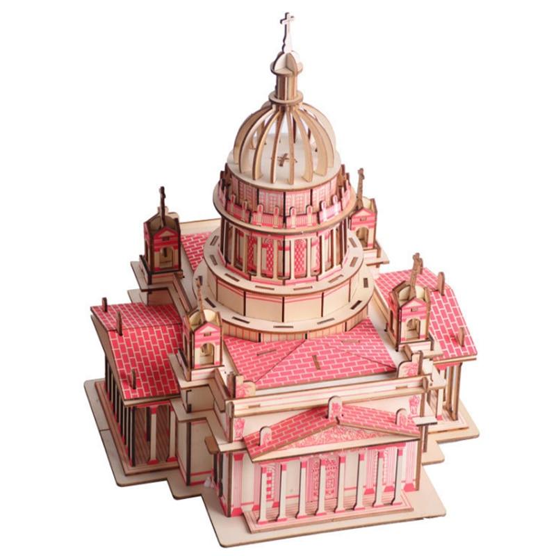 Bricolage modèle jouets 3D en bois Puzzle Issa Kiev Kits en bois Puzzle jeu assemblage jouets cadeau pour enfants adulte P47