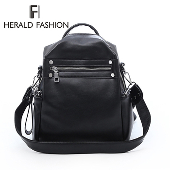 Mochila para mujer de Herald Fashion, bolso Retro de cuero para mujer, mochilas escolares para adolescentes, mochila de viaje para libros, bandoleras