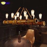 FUMAT Vintage Chandelier Rope Lamp Loft Restaurant Bar Hanging Light Fixtures American Retro Suspension Lamps Bamboo Chandeliers