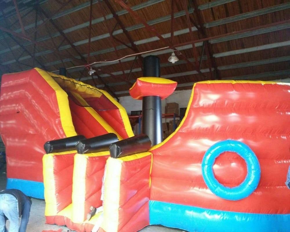 Aufblasbarer Schiffshindernislauf Große aufblasbare Schiffsrutsche Aufblasbare Spaßstadt für Kinder und Erwachsene