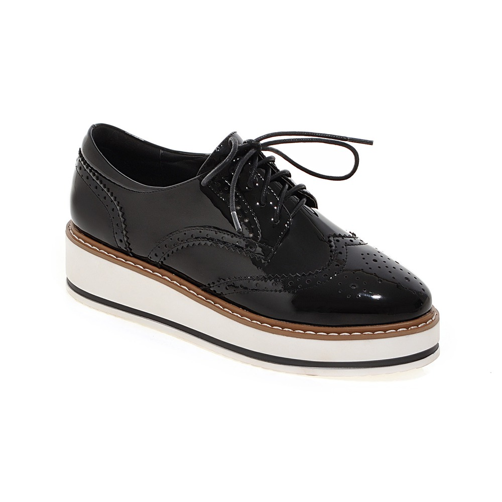 Hot Sale Stars Womens Flats Round Toe Patent Leather Platform Shoes Oxford Lace up  Shoes Size 35-39 Brogue Shoes 05-1 punk platform creepers shoes womens round toe patent leather block high heel pumps lace up riding ankle boots shoes plus size