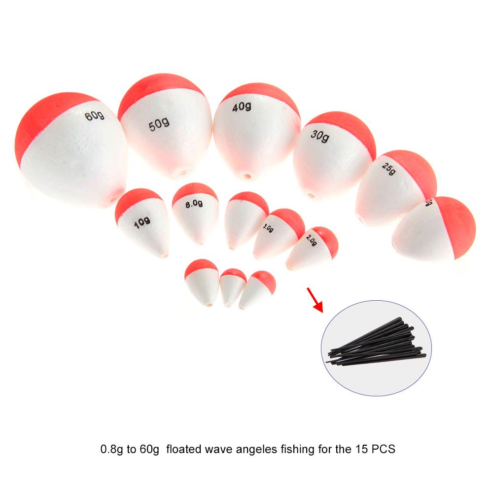 15pcs//Set EPS Fishing Floats Set Sea Fish Float with Sticks Pesca Fishing Tackle
